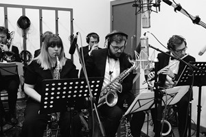Down for the Count Concert Orchestra - horn section including Katie Edwards, Alex Western-King and Luke Pinkstone performing at Cold Stores Studios, Kent