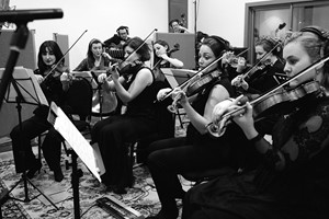 Down for the Count Concert Orchestra - string section performing at Cold Stores Studios, Kent