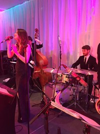 Live swing band performing at Berkshire corporate event