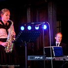 Jazz duo of Claire Waterhouse (saxophone) and Mike Paul-Smith (piano) performing at Anthony and Becky's Wedding Reception at Pinewood Studios, Buckinghamshire.  Photo courtesy of Capture It.
