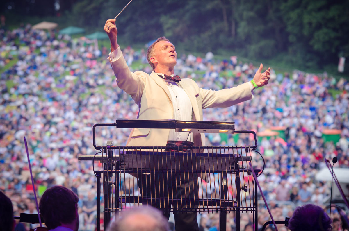 John Rigby conducting the Royal Philharmonic Orchestra at Leeds Castle Classical Concert, Kent