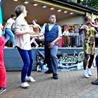 Down for the Count performing alongside The Jive Aces at Swing Dance in the Park 2014, Victoria Embankment Gardens, London.