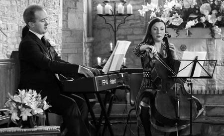Down for the Count wedding ceremony music - pianist and cellist performing classical music at London wedding repcetions