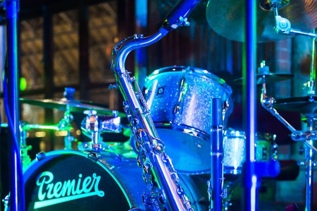 Tenor saxophone and Premier drum kit at London corporate event
