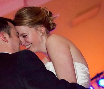 Bride and groom dancing a first dance to live wedding band Down for the Count