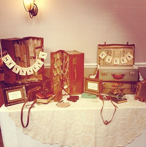 Vintage card box and gift table at wedding reception with live music