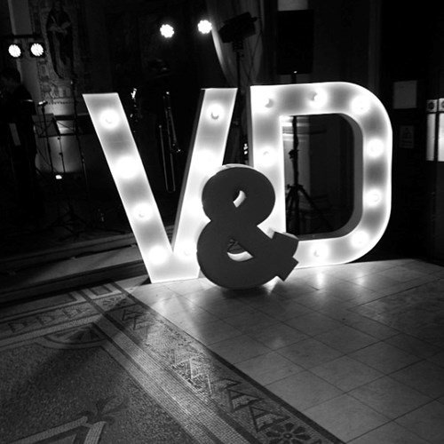 Light up letters at wedding reception