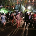 Vintage swing dancers entertaining the crowd at a Great Gatsby themed event at La Mamounia Hotel, Marrakech, Morocco