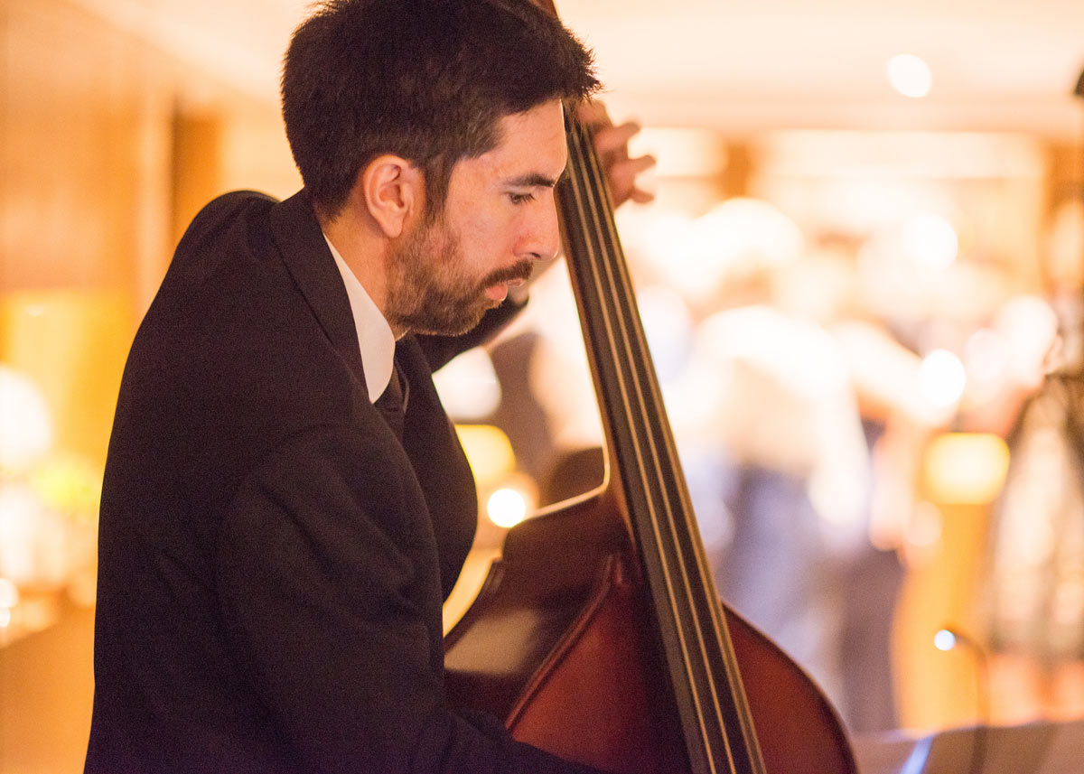 Upright bass with wedding swing band Down for the Count at Le Manoir aux Quat'Saisons, Oxfordshire