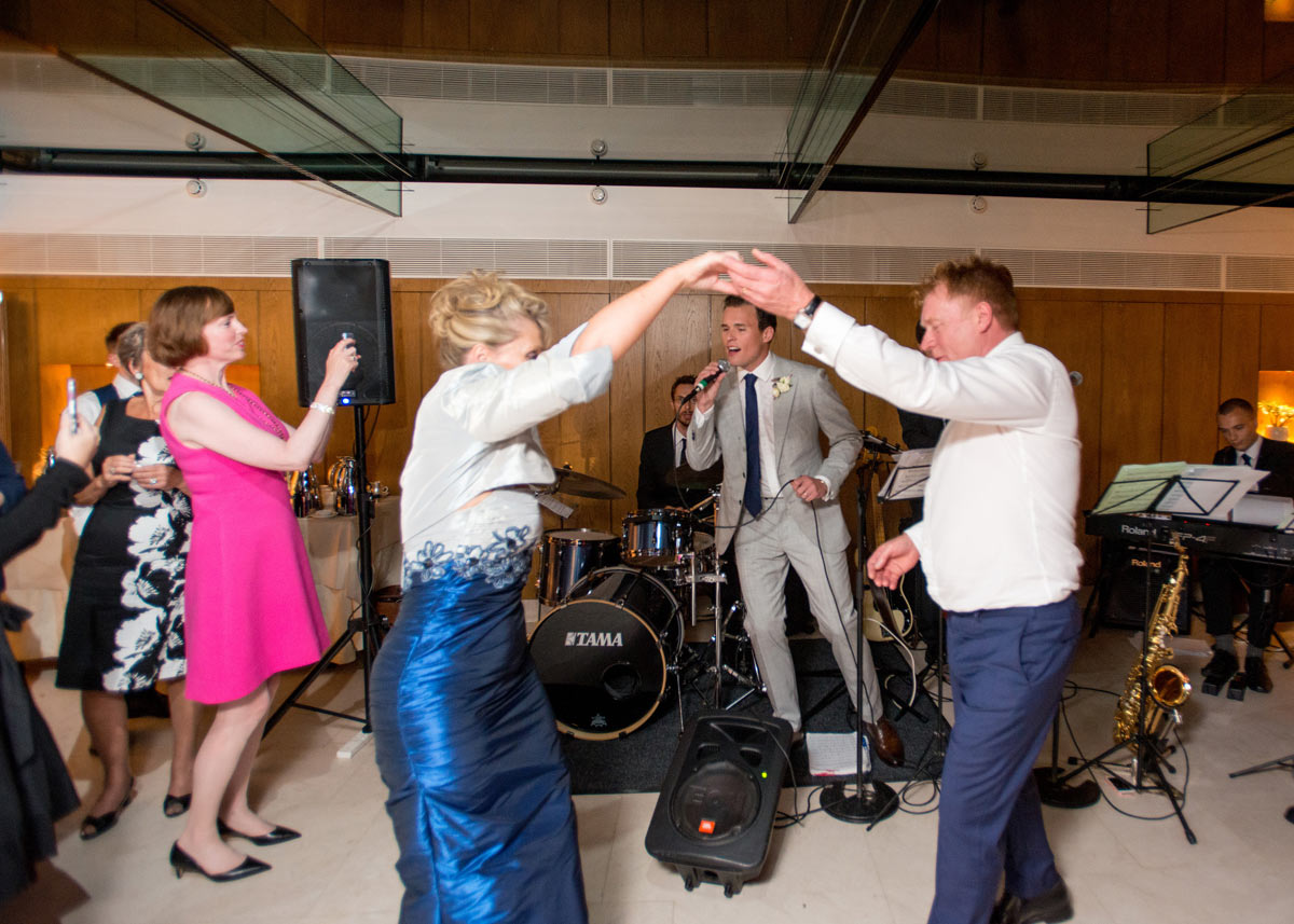Dancing to the live wedding swing band at Le Manoir aux Quat'Saisons, Oxfordshire