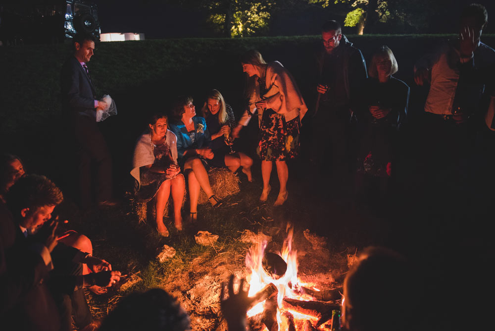 Bonfire at Cold Harbour Barn, Oxfordshire wedding reception
