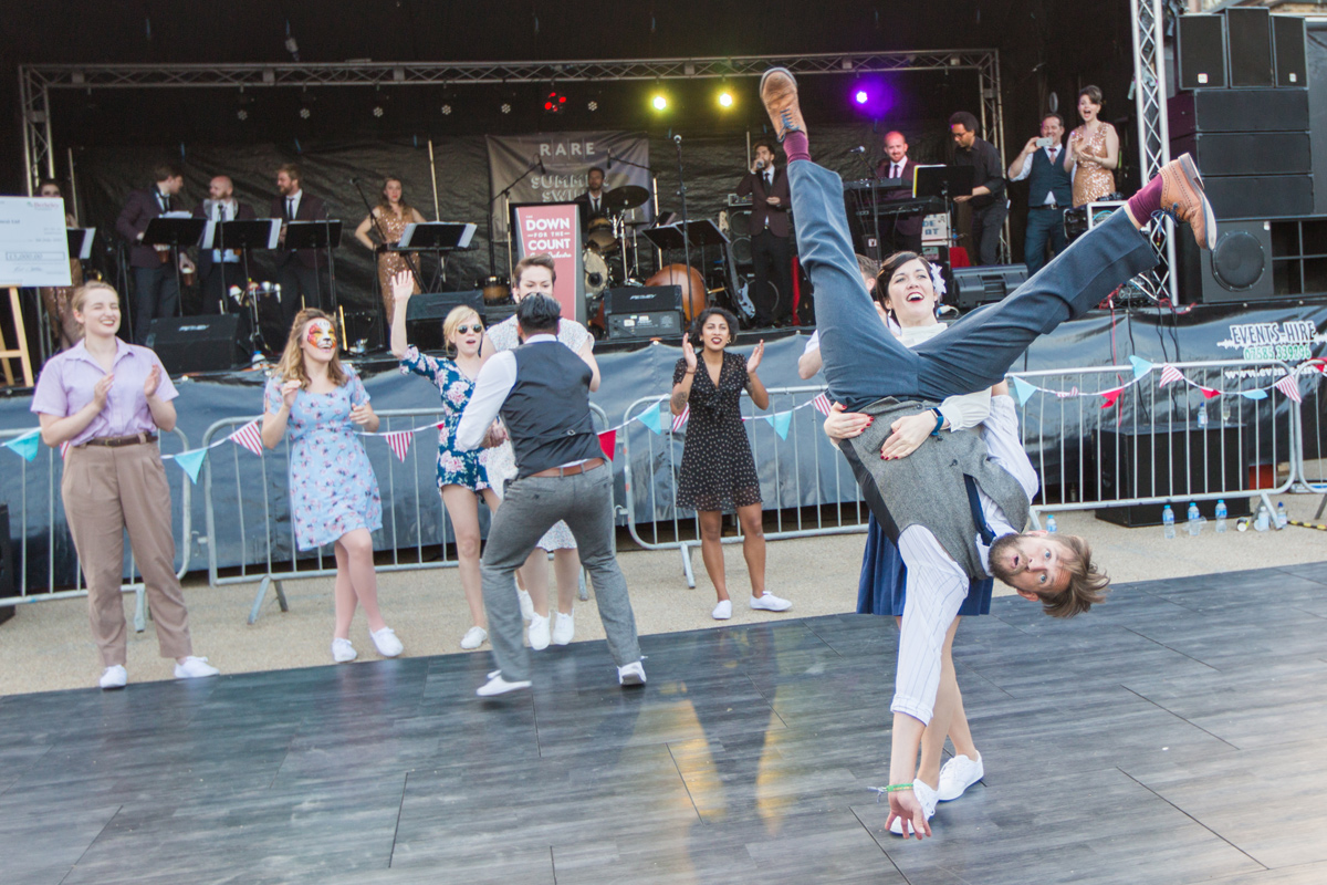 Swing Patrol's Brat Pack performing a routine at Woolwich Arsenal, London public event with live music