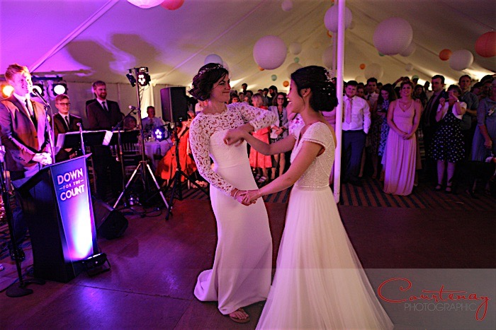 Brides dancing at marquee wedding reception with live music from Down for the Count Swing and Soul Band